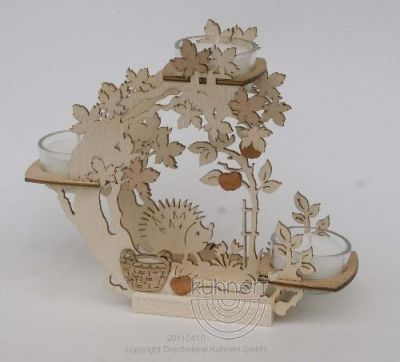 Autumn Motif Wooden Tealight Holder