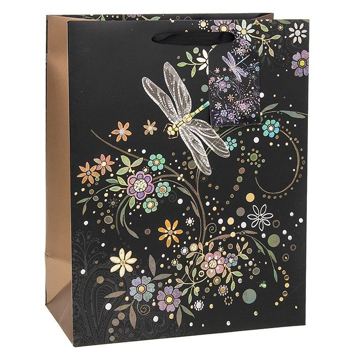 Bug Art Collection Medium  Dragonfly In A Swirl Gift Bag