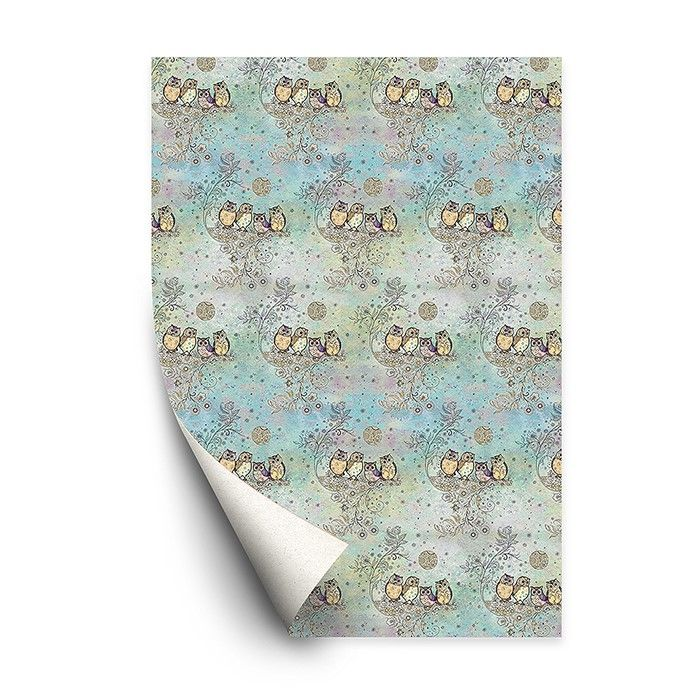 Bug Art Collection Four Owls Gift Wrapping Paper Set of 4 Sheets with Gift Cards