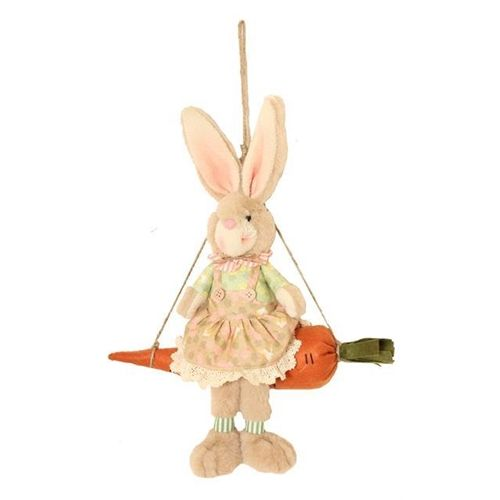 Bunny Blooms Bunny on Carrot Swing Hanging Decoration
