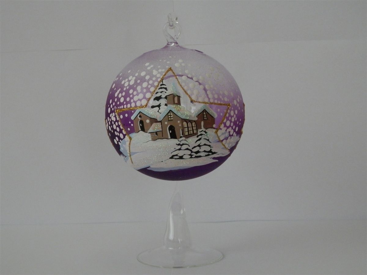 Christmas Glass Tealight Bauble with Stand - Purple Star