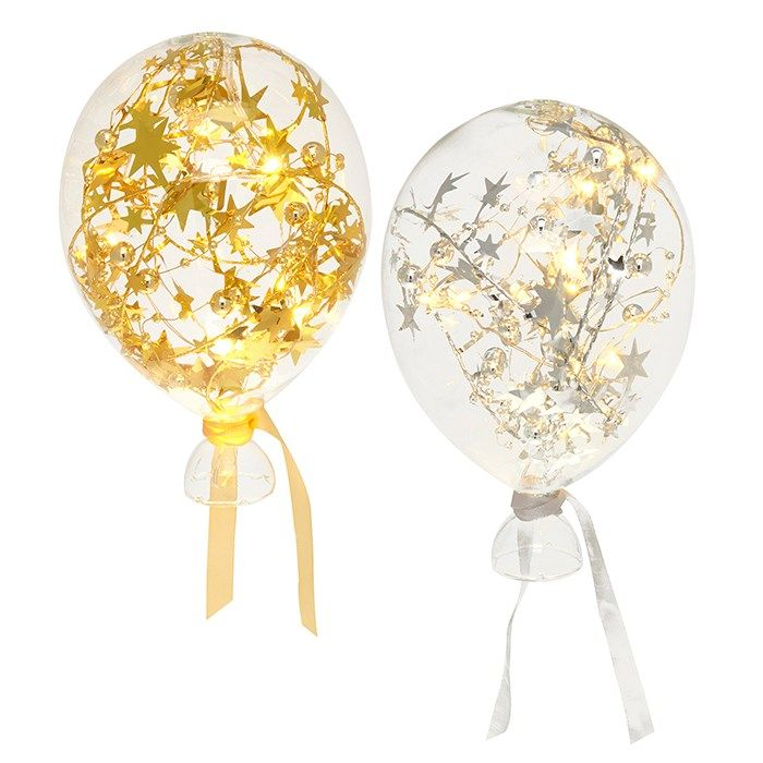 Clear Starlight Gold and Silver Medium Glass LED Light Up Balloons