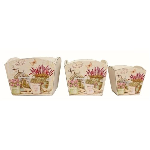 Country Lavender Plant Pots - Set of 3