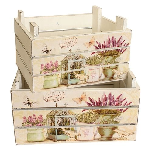 Country Lavender Plant Troughs - Set of 2