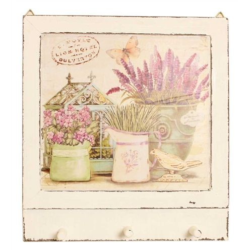 Country Lavender Wall Hook Plaque