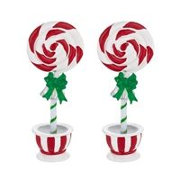 Department 56 Peppermint Topiaries - Set of 2