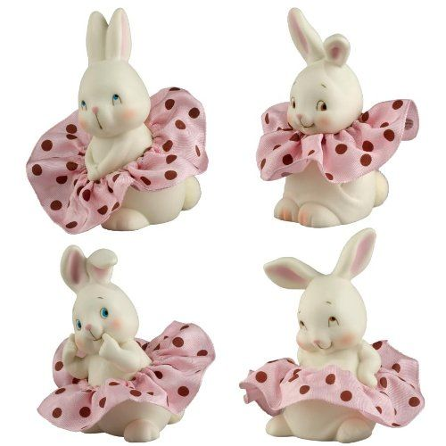 Dottie Girl Bunnies Small Porcelain Bunny Figurines 4024855 Set of 4