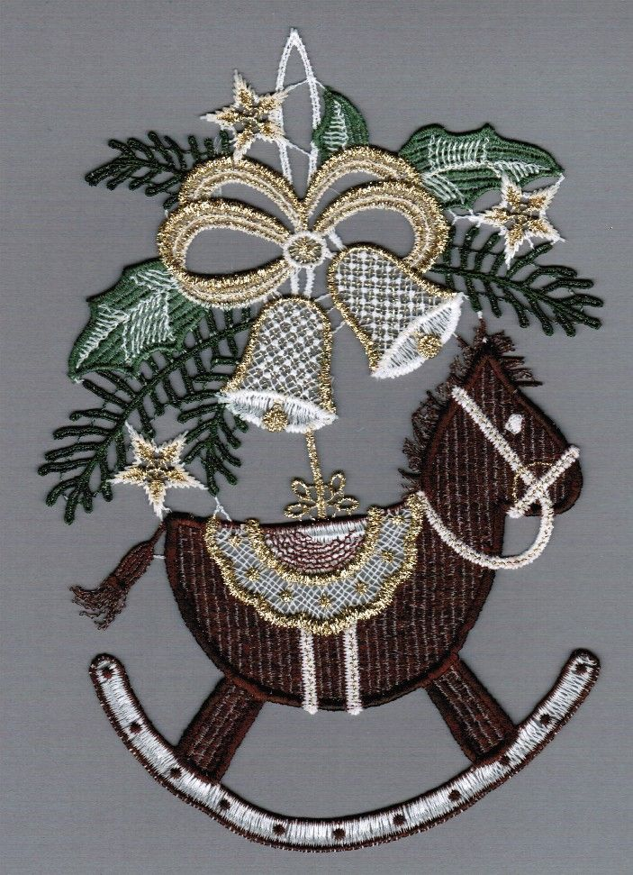 Embroidered Lace Rocking Horse Christmas Window Picture