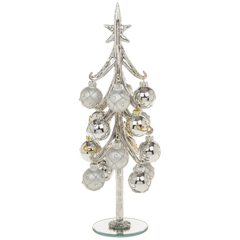 Extra Large Silver Glass Christmas Tree with Silver Decorated Baubles