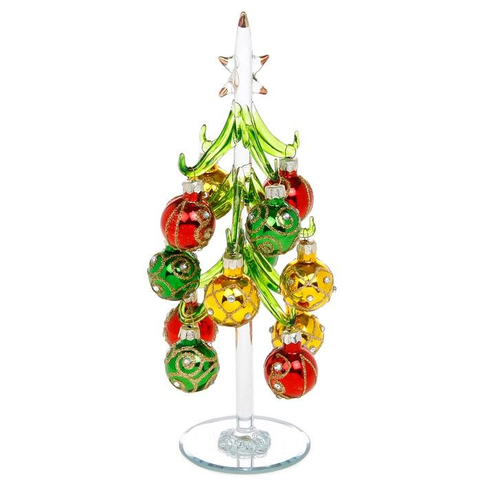 Large Clear Glass Christmas Trees with Vibrant Jewelled Baubles