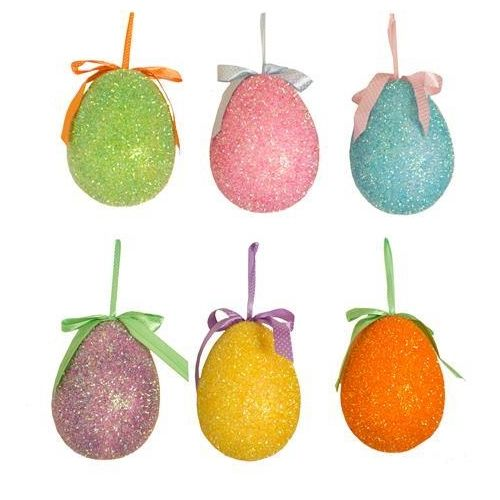 Large Glitzy Easter Hanging Egg Decorations Set of 6