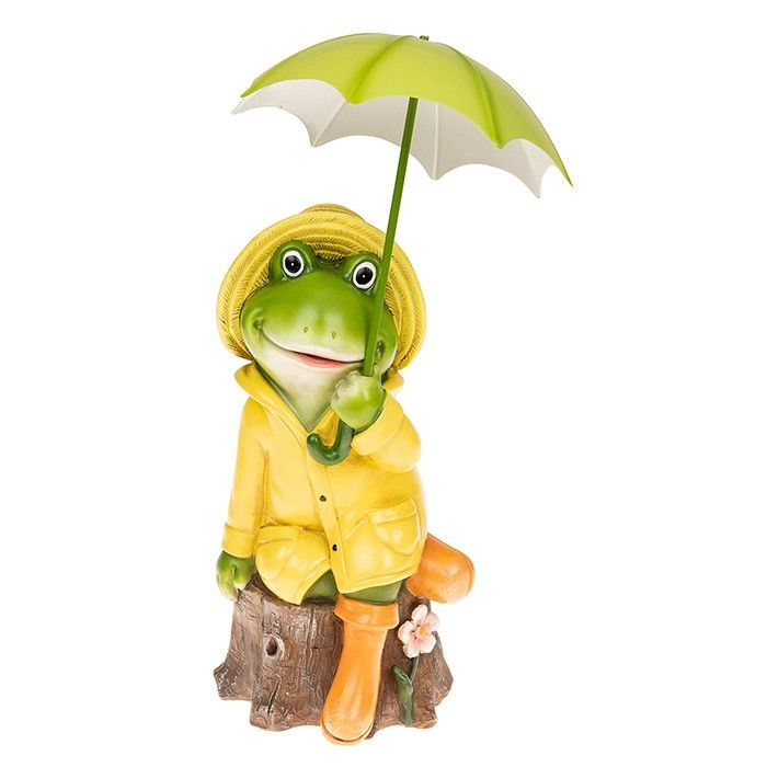 Large Puddle Frog Boy Figurine Sitting with Umbrella Décor Figurine Gift Boxed