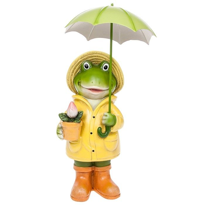 Large Puddle Frog Boy Figurine Standing with Umbrella Décor Figurine Gift Boxed