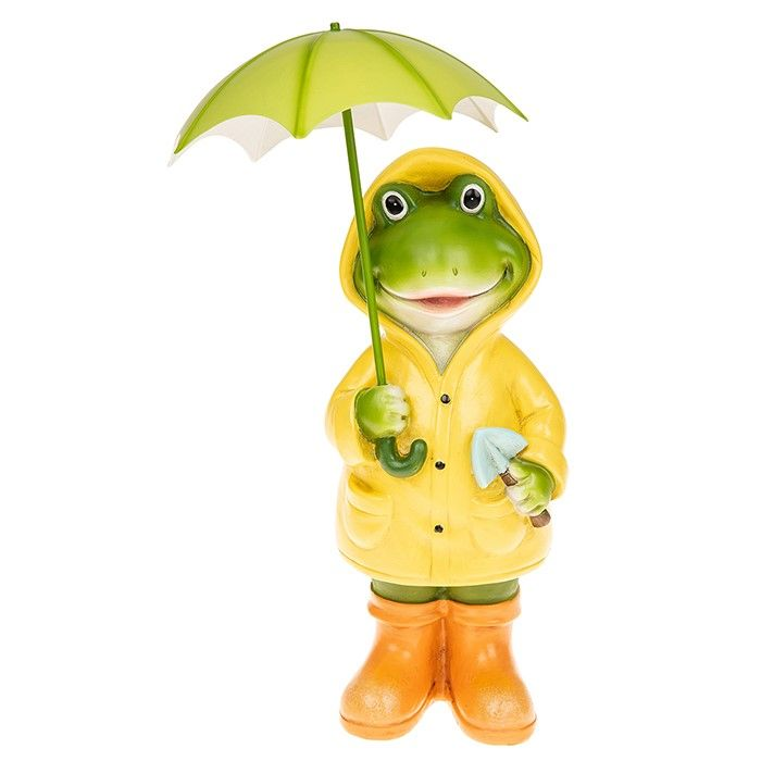 Large Puddle Frog Girl Figurine Standing with Umbrella Décor Figurine Gift Boxed
