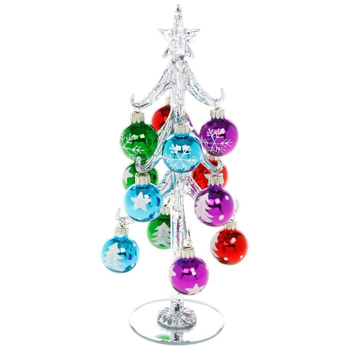 Large Silver Glass Christmas Trees with Bright Multi Coloured Baubles