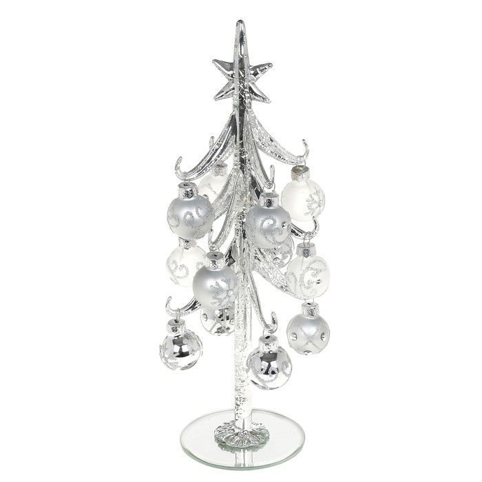 Large Silver Glass Christmas Tree with Silver Decorated Baubles