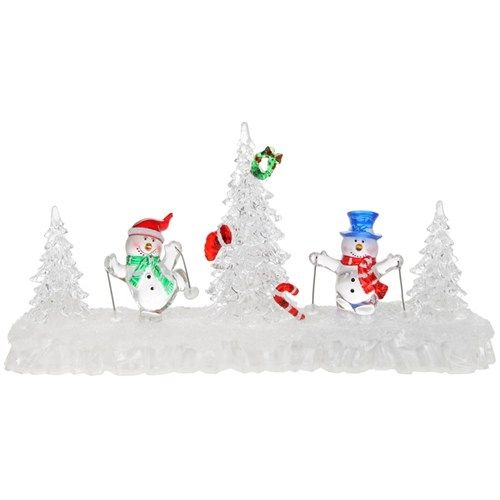 LED Skiing Snowmen Scene