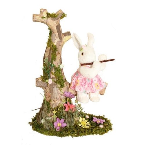 Mr & Mrs Rabbit Easter Decor Collection - Easter Bunny Tree Stump Scene Decoration