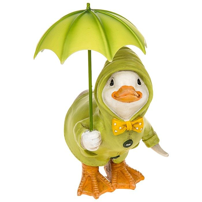 Puddle Duck Squatting Under Umbrella Summer Décor Figurine Gift Boxed