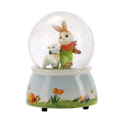 Rabbit with Lamb Musical Easter Water Globe