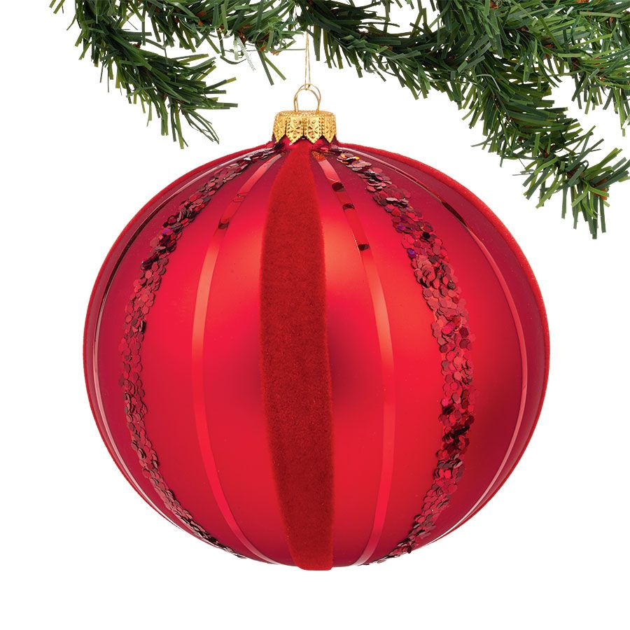 Department 56 Velvet Reindeer Red Sequin Large Glass Ball Christmas Ornament 4042483