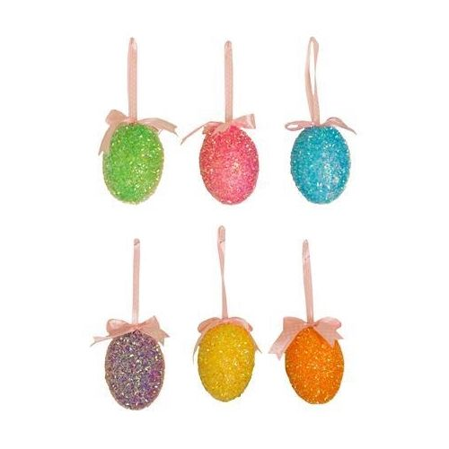 Small Glitzy Easter Hanging Egg Decorations Set of 6