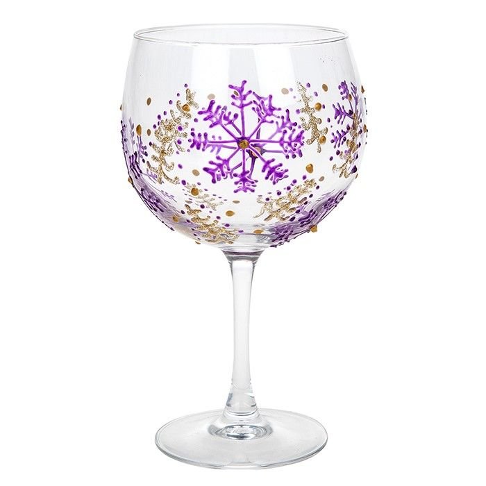 Sunny by Sue Christmas Purple Snowflake Copa Gin & Tonic Glass SS032