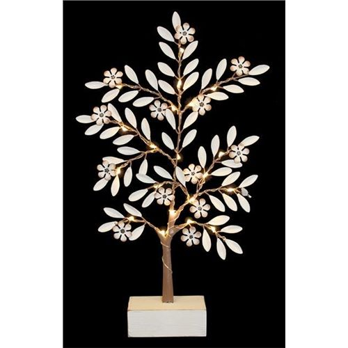 White Floral Spring Tree with LED Lights